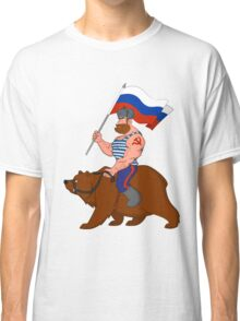 Russian riding a bear. Classic T-Shirt