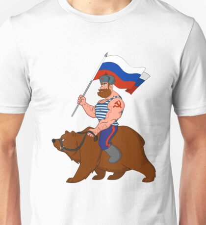 Russian riding a bear. Unisex T-Shirt