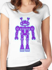 Purple and Blue Robot  Women's Fitted Scoop T-Shirt