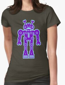 Purple and Blue Robot  Womens Fitted T-Shirt