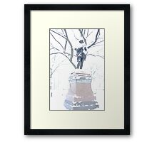 Shakespeare in the snow, Central Park NYC Framed Print