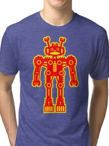 Yellow and Red Robot Tri-blend T-Shirt