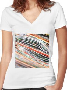 mapping the abstract Women's Fitted V-Neck T-Shirt