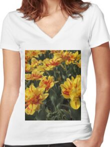 tulips flowers Women's Fitted V-Neck T-Shirt