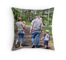 Three Generations Strolling Along  Throw Pillow