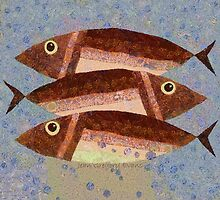 THREE CAREFREE FISH by Jean Gregory  Evans