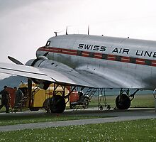 Swissair DC3 at Bern Airport 1957 by Fred Mitchell
