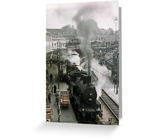 Steam trains at Bern station 1957 Greeting Card