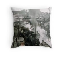 Steam trains at Bern Station 19570921 0009 Throw Pillow