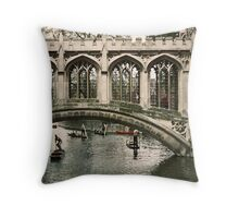 St Johns College Bridge over Cam 19610422 0005 Throw Pillow