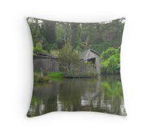 Dilapidated Boathouse Throw Pillow