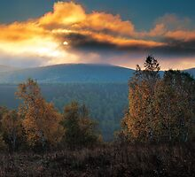 Scenic view of  sunrise behind the beautiful cloud by sf2301420max