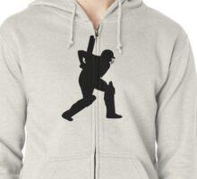 Cricket Sport Bat Ball Zipped Hoodie