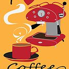 I Love Coffee Retro Style Poster  by Carolynne