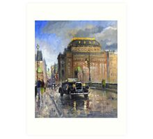 Prague National Theatre Old Car Art Print
