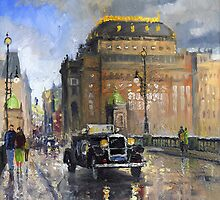 Prague National Theatre Old Car by Yuriy Shevchuk