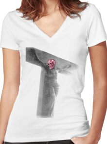 bad use of typography is sacriligious  Women's Fitted V-Neck T-Shirt