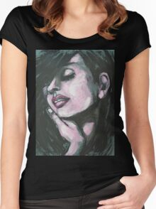 Melancholy - Portrait Of A Woman Women's Fitted Scoop T-Shirt