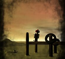 Little Red Robot on Boat Dock by mdkgraphics