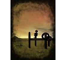 Little Red Robot on Boat Dock Photographic Print