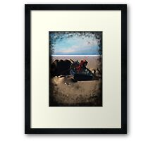 Little Red Robot in a Row Boat Framed Print