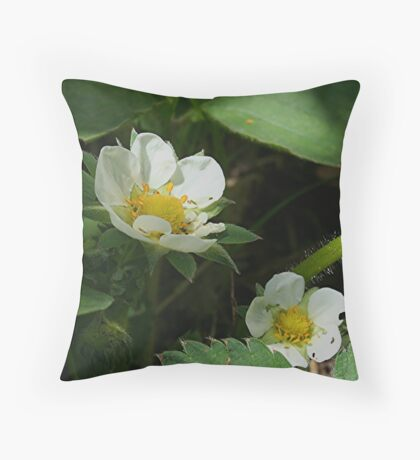 Strawberry Blossoms Throw Pillow