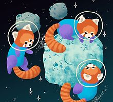 Red Space Pandas by Maike Vierkant