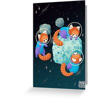 Red Space Pandas Greeting Card