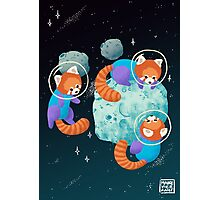 Red Space Pandas Photographic Print