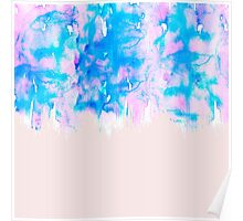 Girly Pastel Pink and Blue Watercolor Paint Drips Poster