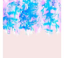Girly Pastel Pink and Blue Watercolor Paint Drips Photographic Print