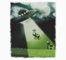 Comical UFO Cow Abduction by mdkgraphics