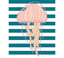 Jellyfish Blue White Bold Stripes Photographic Print