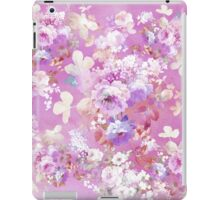 Girly pink white watercolor vintage floral pattern iPad Case/Skin