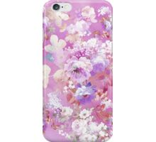 Girly pink white watercolor vintage floral pattern iPhone Case/Skin