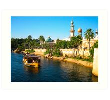 Beautiful palace with palm and ship on river Art Print