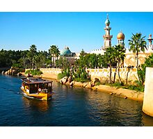 Beautiful palace with palm and ship on river Photographic Print