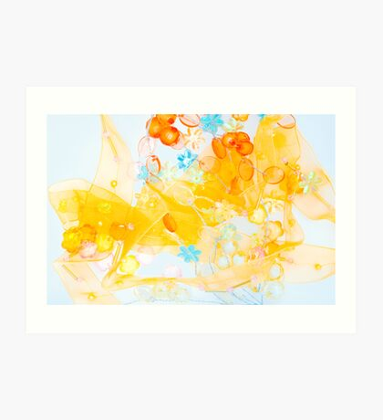Colorful composition of ribbon?plastic and glasses frlowers Art Print