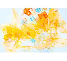 Colorful composition of ribbon?plastic and glasses frlowers Photographic Print