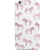Cute girly pink watercolor zebra pattern iPhone Case/Skin