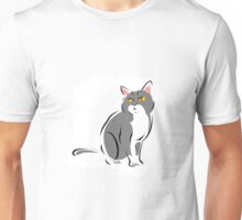 Attentive Gray and White Cat Unisex T-Shirt