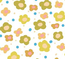 Retro green orange abstract floral pattern by Maria Fernandes