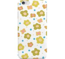 Retro green orange abstract floral pattern iPhone Case/Skin