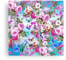 Vintage colorful butterflies girly floral pattern Canvas Print
