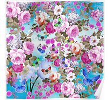 Vintage colorful butterflies girly floral pattern Poster