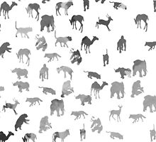 Black white pastel color watercolor animal pattern by Maria Fernandes