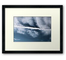 Clouds and Contrail Framed Print