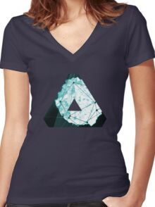 Abstract Geometry: Ocean Crystal (Ice Blue) Women's Fitted V-Neck T-Shirt
