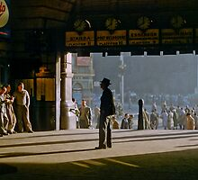 Clockwatcher on entrance Flinders St station19580904 0001 by Fred Mitchell