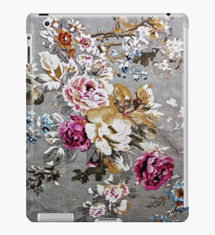 Vintage pink white fabric texture floral pattern iPad Case/Skin